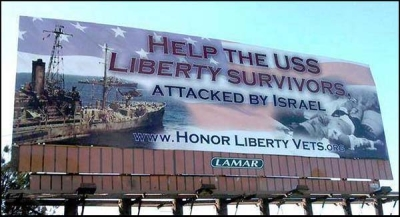 San Diego, California – March, 2015: This ad is part of an anti-Israel conspiracy that suggests Israel intentionally attacked the USS Liberty in 1967.