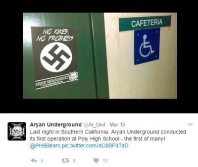 Aryan Underground Flier at Poly High School California 2017