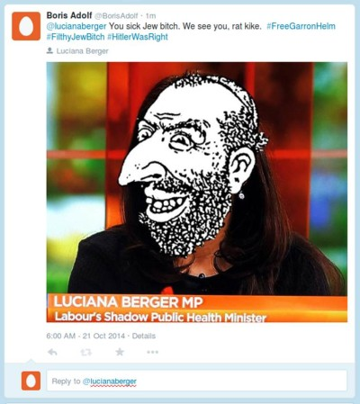 Twitter Troll harassing Berger