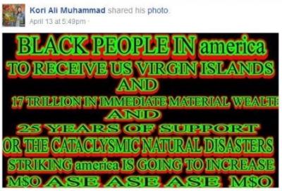 Kori Ali Muhammad Facebook Shared Prophecy