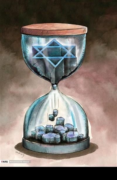 Anti-semitic cartoon Jewish star of David in hourglass