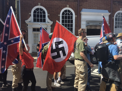 Swastika flag at Unite the Right