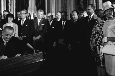 Lyndon B. Johnson Signs Voting Rights Act of 1965