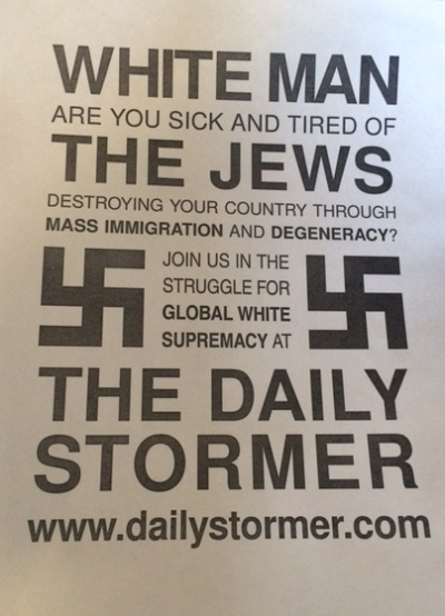 Anti-Semitic flyer distributed at campuses