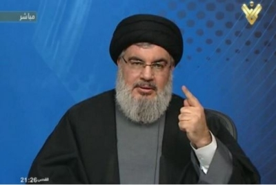 Hassan Nasrallah, the head of Hezbollah, speaking on al-Manar television