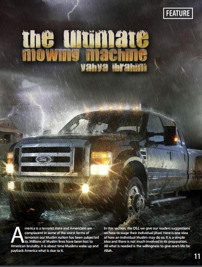 Image encouraging car attacks from AQAP Inspire Mujahid Pocketbook propaganda