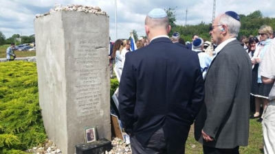 At the Jedwabne memorial with ADL National Chair Marvin Nathan