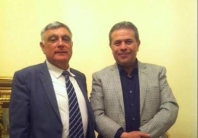 MP Tawfik Okasha (right) hosts Israeli ambassador Haim Koren.