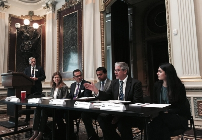 (From left to right) John Walsh, US Attorney for Colorado Moderator;  Megan Mack, Department of Homeland Security; Robert Moossy, Department of Justice; Paul Montiero, Department of Justice; Michael Lieberman, Anti-Defamation League; Madihha Ahussain, Muslim Advocates.