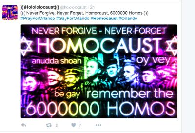 Anti-LGBT and anti-Semitic tweet on Orlando attack
