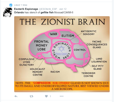 Tweet promoting anti-Semitic conspiracies in response to Orlando attack