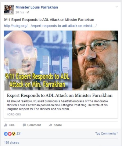 Farrakhan promoting the anti-Semitic interview with Kevin Barrett on Facebook