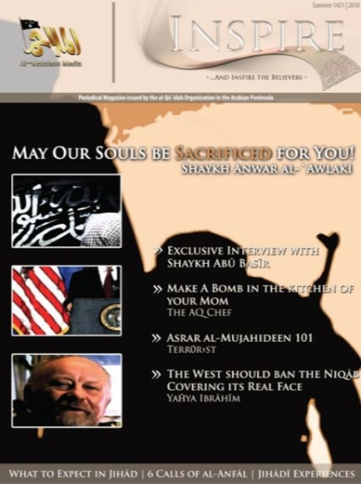 Cover of the first issue of Inspire, AQAP