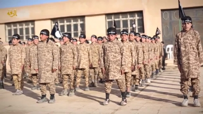 Children in military training in an ISIS propaganda video