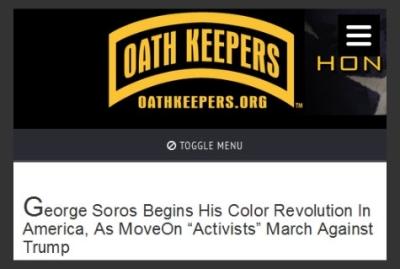 Oath Keepers website article headline