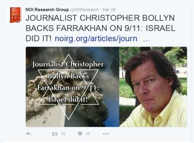 NOI Research Group promoting on Twitter the interview with anti-Semitic 9/11 truther Christopher Bollyn